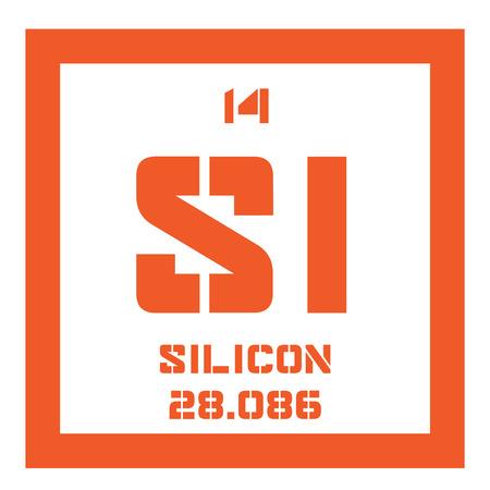 silicio: elemento químico silicio. metaloide tetravalente. icono de color con el número atómico y el peso atómico. elemento químico de la tabla periódica.