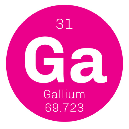 affinity: Gallium chemical element. Used in electronics. Colored icon with atomic number and atomic weight. Chemical element of periodic table. Illustration