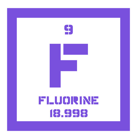 atomic number: Fluorine chemical element. The most electronegative element. Colored icon with atomic number and atomic weight. Chemical element of periodic table. Illustration