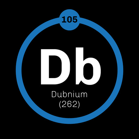 chemical element: Dubnium chemical element. Radioactive synthetic element. Colored icon with atomic number and atomic weight. Chemical element of periodic table.