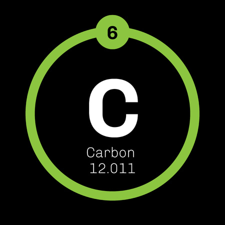 Carbon chemical element. Graphite and diamond. Colored icon with atomic number and atomic weight. Chemical element of periodic table.