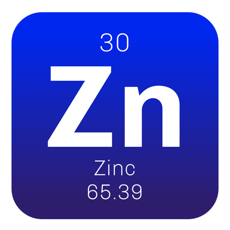 chemical element: Zinc chemical element. Common element on Earth. Colored icon with atomic number and atomic weight. Chemical element of periodic table.