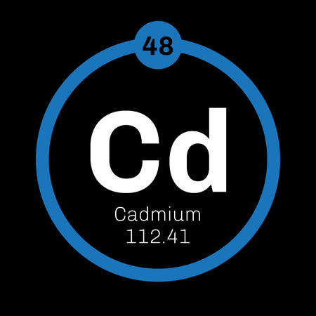 atomic number: Cadmium chemical element. Transition metal. Colored icon with atomic number and atomic weight. Chemical element of periodic table. Illustration