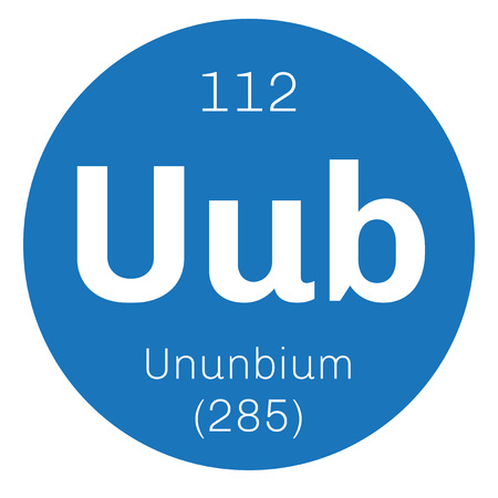 primordial: Ununbium chemical element. Extremely radioactive synthetic element. Colored icon with atomic number and atomic weight. Chemical element of periodic table. Illustration