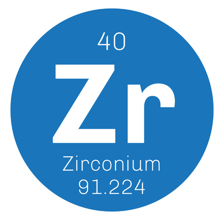 atomic number: Zirconium chemical element. Zirconium is a transition metal. Colored icon with atomic number and atomic weight. Chemical element of periodic table. Illustration