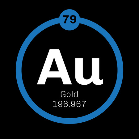 atomic number: Gold chemical element. One of the least reactive chemical elements. Colored icon with atomic number and atomic weight. Chemical element of periodic table.