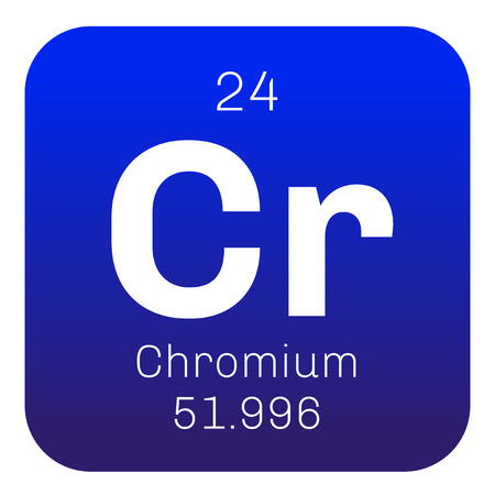 chemical element: Chromium chemical element. Steel grey, lustrous, hard and brittle metal. Illustration