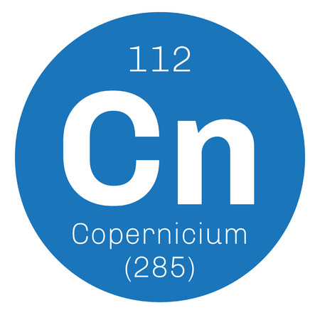 electrons: Copernicium chemical element. Extremely radioactive synthetic element.