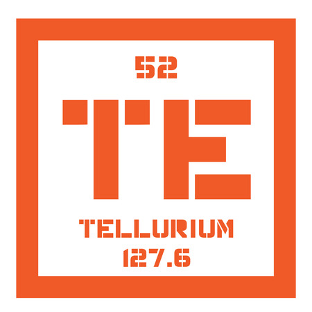 atomic number: Tellurium chemical element. Extremely rare element. Colored icon with atomic number and atomic weight. Chemical element of periodic table.