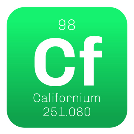 cf: Californium chemical element. Californium is an actinide element. Colored icon with atomic number and atomic weight. Chemical element of periodic table. Illustration