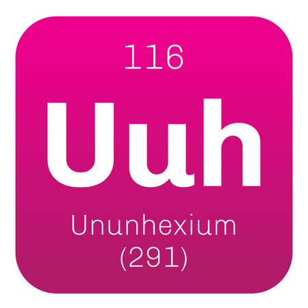 Ununhexium chemical element. Science symbol chemistry. Colored icon with atomic number and atomic weight. Chemical element of periodic table.