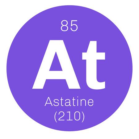 atomic number: Astatine chemical element. Radioactive chemical element. Colored icon with atomic number and atomic weight. Chemical element of periodic table. Illustration