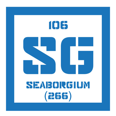 chemical element: Seaborgium chemical element. Synthetic element. Colored icon with atomic number and atomic weight. Chemical element of periodic table.
