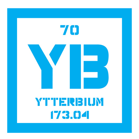 lanthanide: Ytterbium chemical element. Ytterbium is an element in the lanthanide series. Colored icon with atomic number and atomic weight. Chemical element of periodic table.