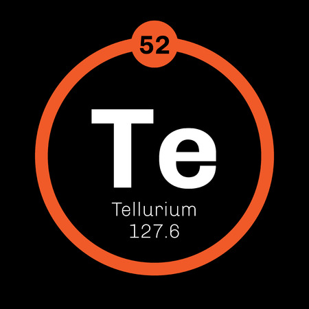 Tellurium chemical element. Extremely rare element. Colored icon with atomic number and atomic weight. Chemical element of periodic table.