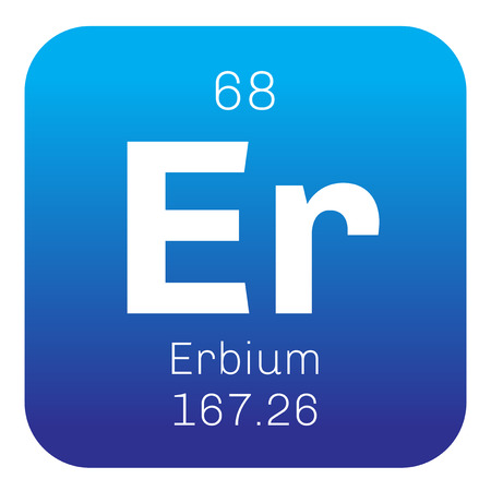 chemical element: Erbium chemical element. Rare earth element. Colored icon with atomic number and atomic weight. Chemical element of periodic table.