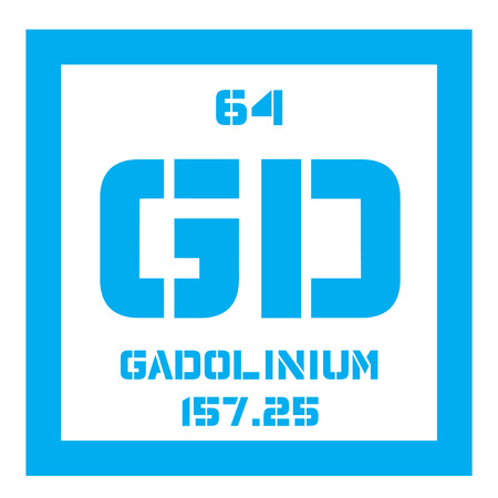 rare: Gadolinium chemical element. Rare metal. Colored icon with atomic number and atomic weight. Chemical element of periodic table.