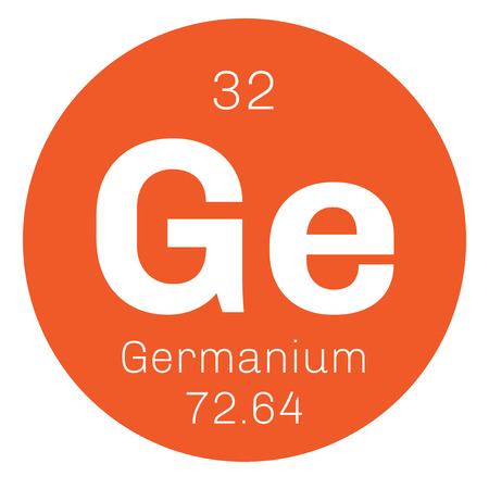 semiconductor: Germanium chemical element. Metalloid in carbon group, a semiconductor. Colored icon with atomic number and atomic weight. Chemical element of periodic table. Illustration