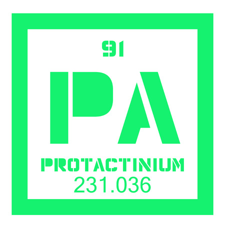 Protactinium chemical element. Protactinium is mostly extracted from spent nuclear fuel. Colored icon with atomic number and atomic weight. Chemical element of periodic table.