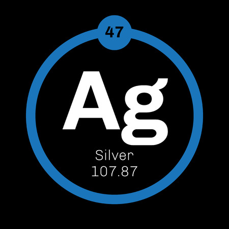 Silver Chemical Element Precious Metal Colored Icon With Atomic