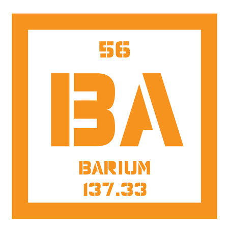 Barium chemical element. An alkaline earth metal. Colored icon with atomic number and atomic weight. Chemical element of periodic table. Illustration