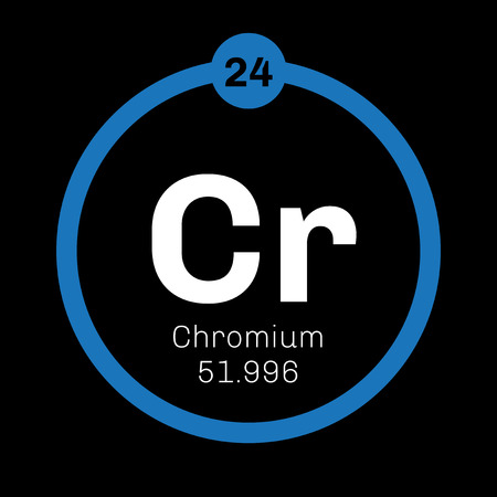 brittle: Chromium chemical element. Steel grey, lustrous, hard and brittle metal. Illustration