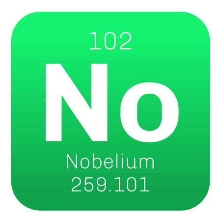 atomic number: Nobelium chemical element. Nobelium is a radioactive metal. Colored icon with atomic number and atomic weight. Chemical element of periodic table. Illustration