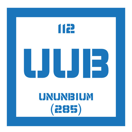 mendeleev: Ununbium chemical element. Extremely radioactive synthetic element. Colored icon with atomic number and atomic weight. Chemical element of periodic table. Illustration