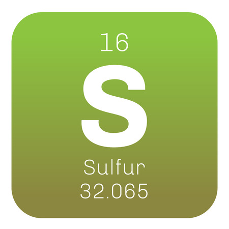 chemical element: Sulfur chemical element. Abundant non-metal element. Colored icon with atomic number and atomic weight. Chemical element of periodic table.