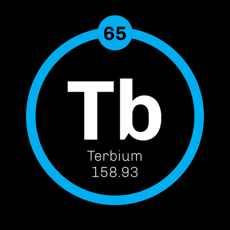 rare: Terbium chemical element. Rare earth metal. Colored icon with atomic number and atomic weight. Chemical element of periodic table. Illustration