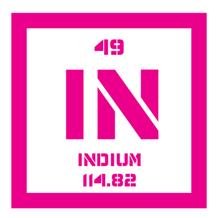 atomic number: Indium chemical element. Soft post-transition metal. Colored icon with atomic number and atomic weight. Chemical element of periodic table.