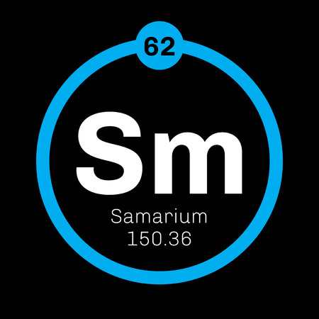 lanthanide: Samarium chemical element. Part of the lanthanide series. Colored icon with atomic number and atomic weight. Chemical element of periodic table.
