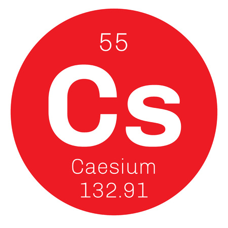 atomic: Caesium chemical element. Soft alkali metal. Colored icon with atomic number and atomic weight. Chemical element of periodic table.