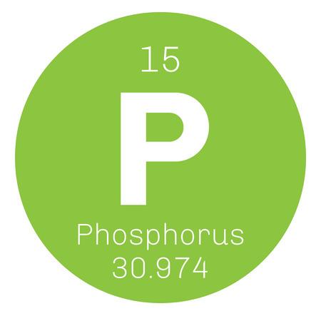 Phosphore élément chimique. élément très réactif. icône de couleur avec le numéro atomique et le poids atomique. Élément chimique du tableau périodique.