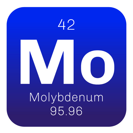 Molybdenum chemical element. Has sixth-highest melting point of all elements. Colored icon with atomic number and atomic weight. Chemical element of periodic table.