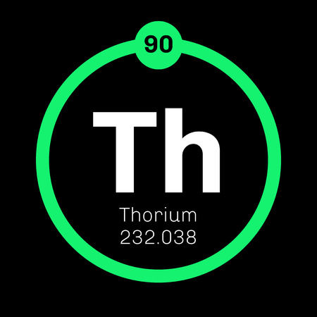 Thorium chemical element. A radioactive actinide metal. Colored icon with atomic number and atomic weight. Chemical element of periodic table.