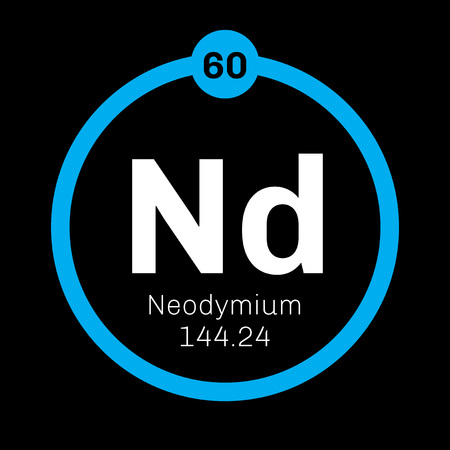 Neodymium chemical element. Common earth element, soft metal. Colored icon with atomic number and atomic weight. Chemical element of periodic table.