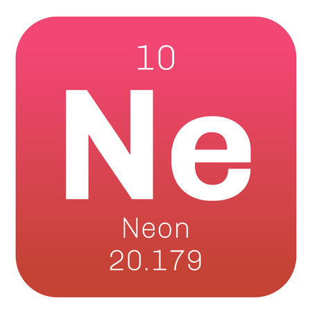 affinity: Neon chemical element. Belongs to noble gases group of the periodic table. Colorless, odorless and inert gas. Illustration