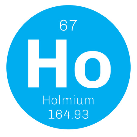 lanthanide: Holmium chemical element. Part of the lanthanide series. Colored icon with atomic number and atomic weight. Chemical element of periodic table. Illustration