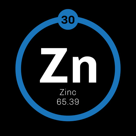 atomic: Zinc chemical element. Common element on Earth. Colored icon with atomic number and atomic weight. Chemical element of periodic table.