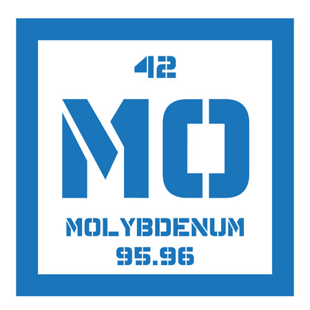 affinity: Molybdenum chemical element. Has sixth-highest melting point of all elements. Colored icon with atomic number and atomic weight. Chemical element of periodic table.
