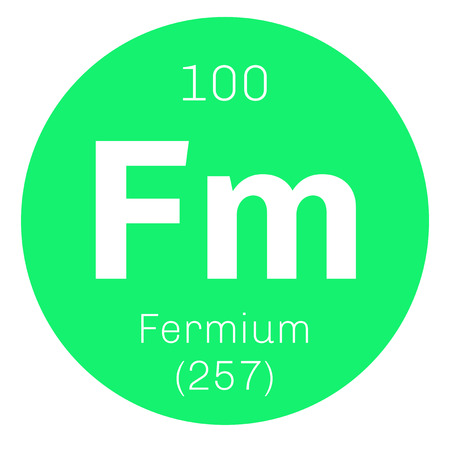 number plate: Fermium chemical element. Member of the actinide series. Colored icon with atomic number and atomic weight. Chemical element of periodic table. Illustration