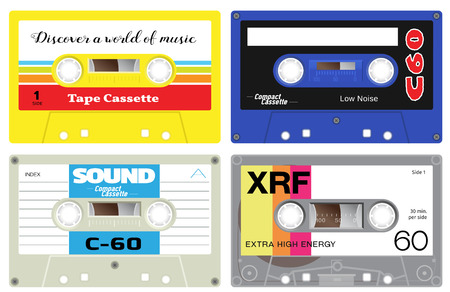 seventies: Early seventies cassette tapes. Detailed illustration of retro sound records. Analogue technology of sound recording and mixing. Used in cassette players.