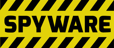 stop piracy: Spyware sign yellow with stripes, road sign variation. Bright vivid sign with warning message.