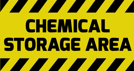 explosive watch: Chemical storage area sign yellow with stripes, road sign variation. Bright vivid sign with warning message.
