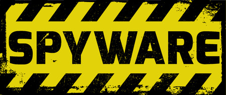 Spyware sign yellow with stripes, road sign variation. Bright vivid sign with warning message. 矢量图片