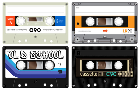 seventies: Vintage cassette tapes. Analogue technology. Sound mix of the seventies and eighties. Old out of date format of nostalgy. Illustration