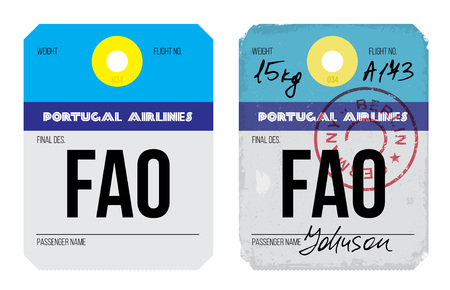luggage tag: Vintage Luggage Tag clean and worn out grungy. Real looking airport luggage tag in two graphic styles.