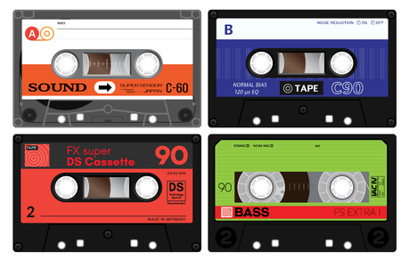 walkman: Vintage cassette tapes. Analogue technology. Sound mix of the seventies and eighties. Old out of date format of nostalgy. Illustration
