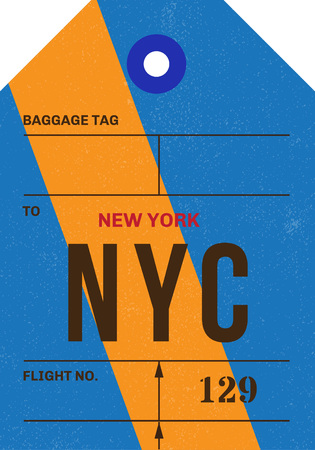 Vintage Luggage Tag clean and worn out grungy. Real looking airport luggage tag in two graphic styles. Promising adventure to New York, USA. Ilustração
